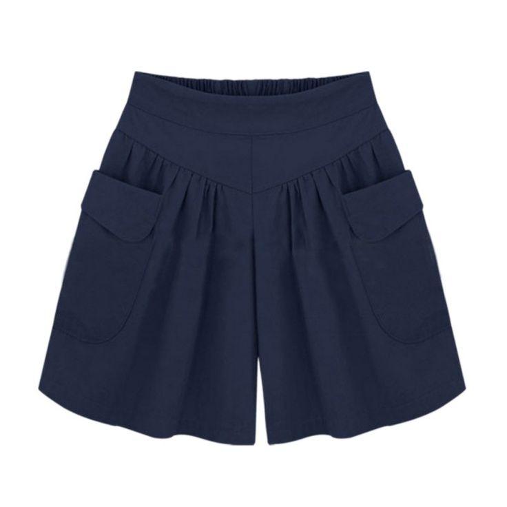 2017 Summer Short women Wide Leg Female Shorts Casual Solid Loose Ladies High Waist  XL-5XL Pantalones Cortos #Affiliate