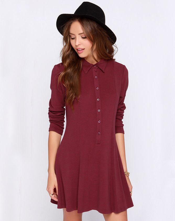 Shop Wine Red Long Sleeve Pleated Dress online. Sheinside offers Wine Red Long Sleeve Pleated Dress & more to fit your fashionable needs. Free Shipping Worldwide!
