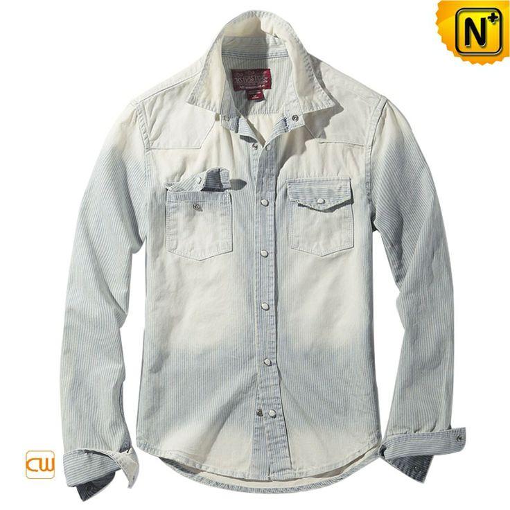 Mens Long Sleeve Double Pocket Denim Shirts Cw114303