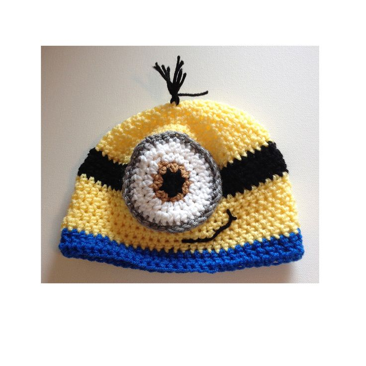 Minion beanie hat, any size, made to order, baby to adult minion hat, one eyed minion hat, two eyed minion hat by CarrowayCrochet on Etsy https://www.etsy.com/ca/listing/264337221/minion-beanie-hat-any-size-made-to-order