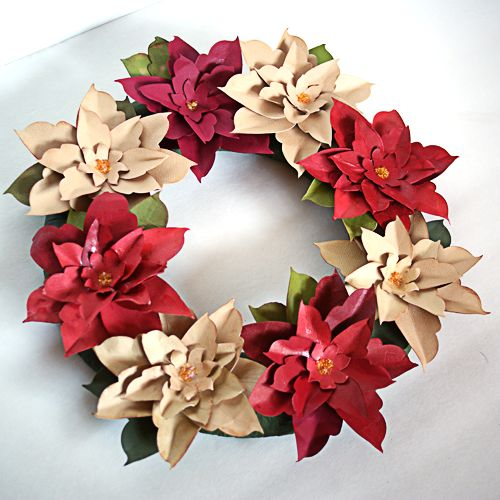 223 best paper christmas crafts images on pinterest christmas how to make a paper poinsettia wreath mightylinksfo