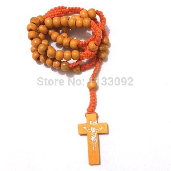 12pcs/lot ROSARY Cross Beads,Large Cross,CATHOLIC,Crucifix Necklace,Hand Made necklace 7 color free ePacke ship