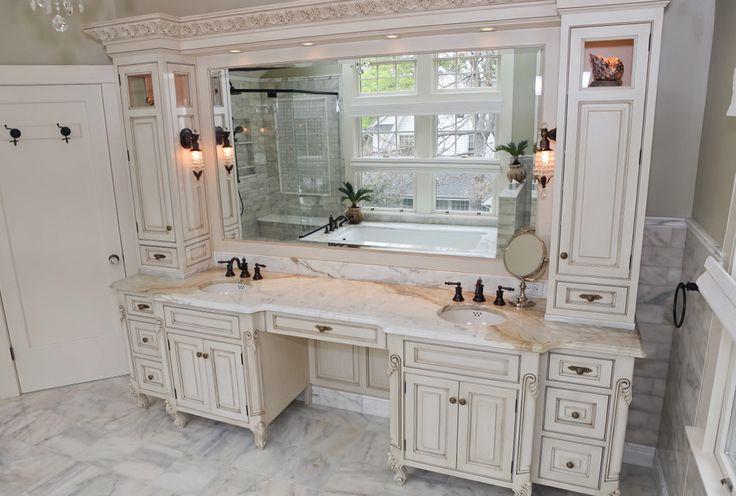 25 best bathroom double vanity ideas on pinterest double vanity double sink vanity and for Bathroom sink vanity with makeup area
