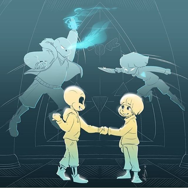 When we were little we were good friends... But now... (sans and frisk)