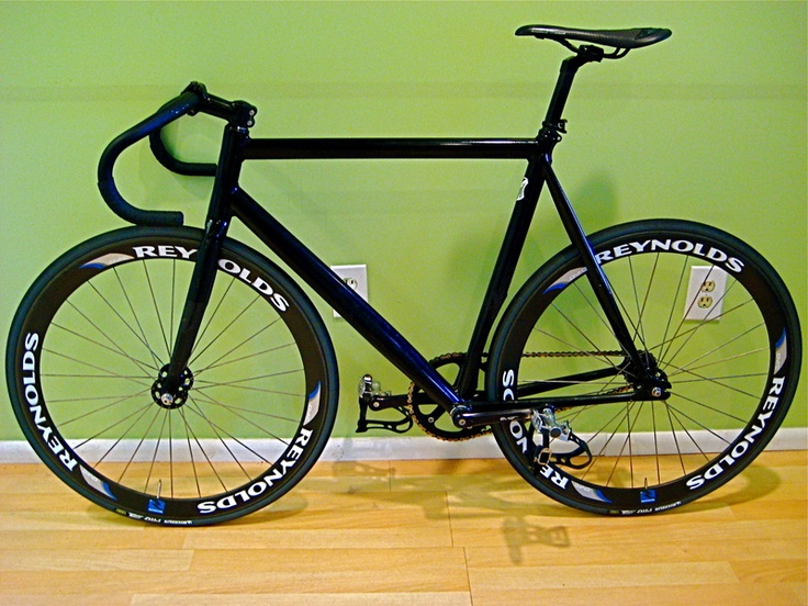 All black fixie with reynolds wheels