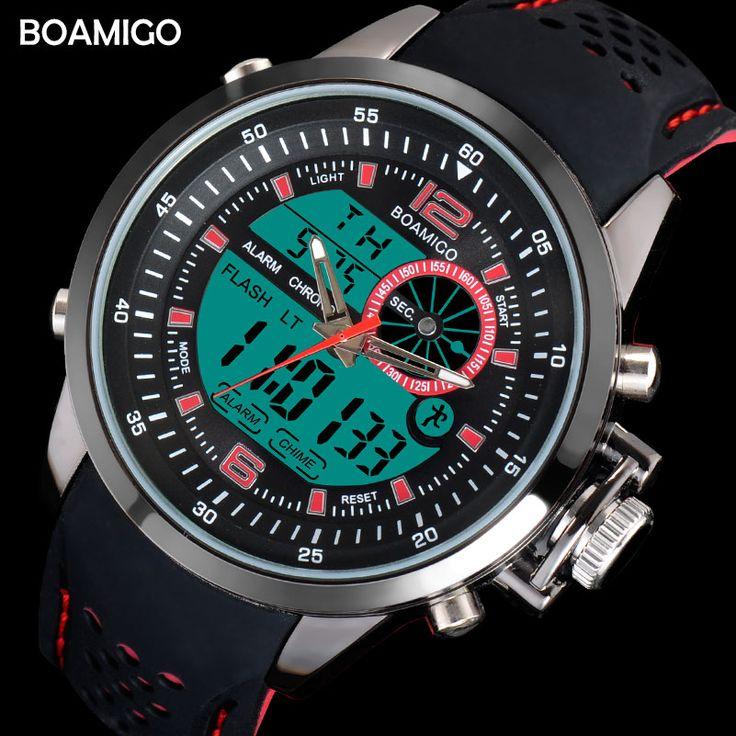 men sport watches dual time digital watches rubber analog quartz watch BOAMIGO brand red chronograph wristwatches reloj hombre