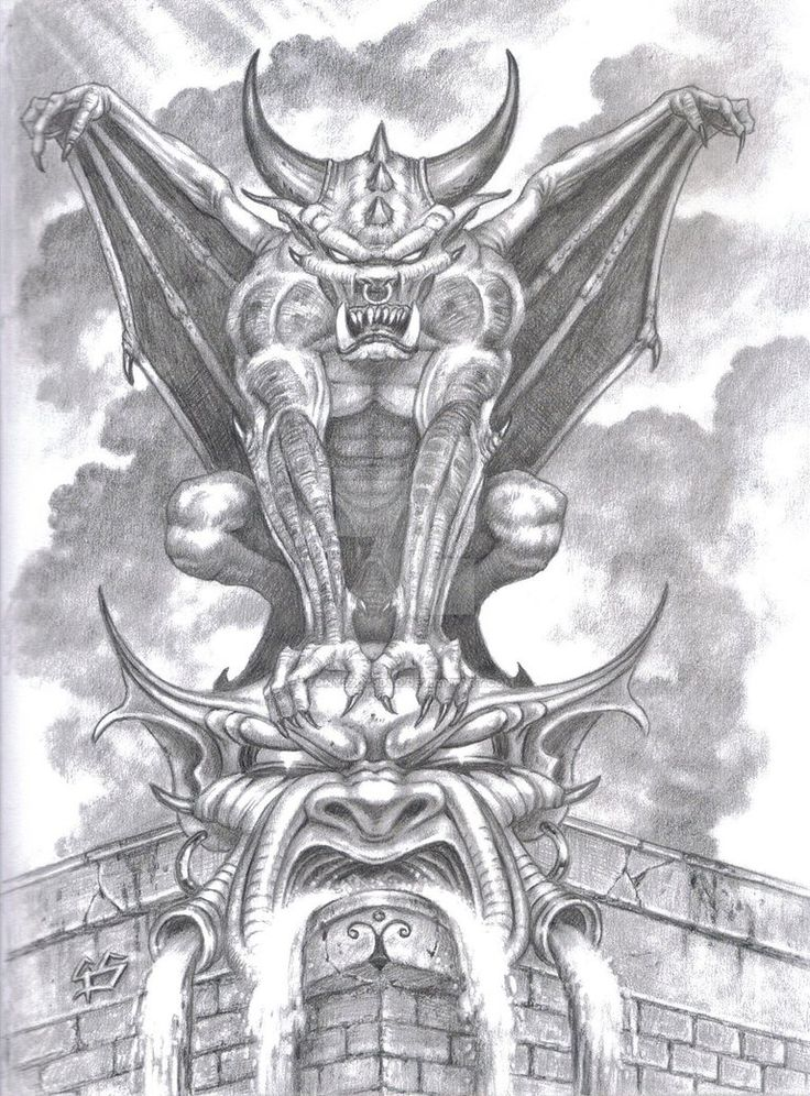 Gargoyle. Sketch in pencil.