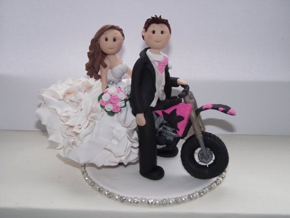 personalised bride, groom on a motorbike wedding cake topper all handmade, customised via etsy