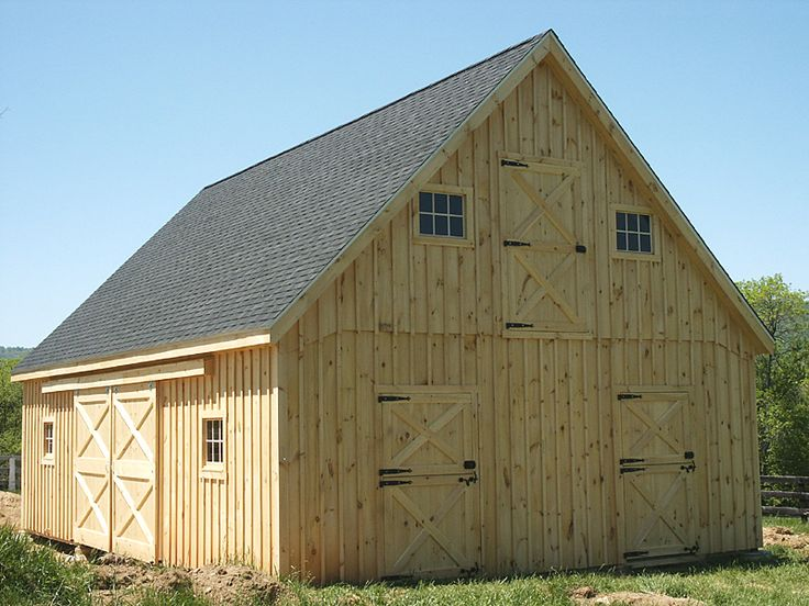 24'x36' Horse Barn with 12/12 roof pitch  free plans