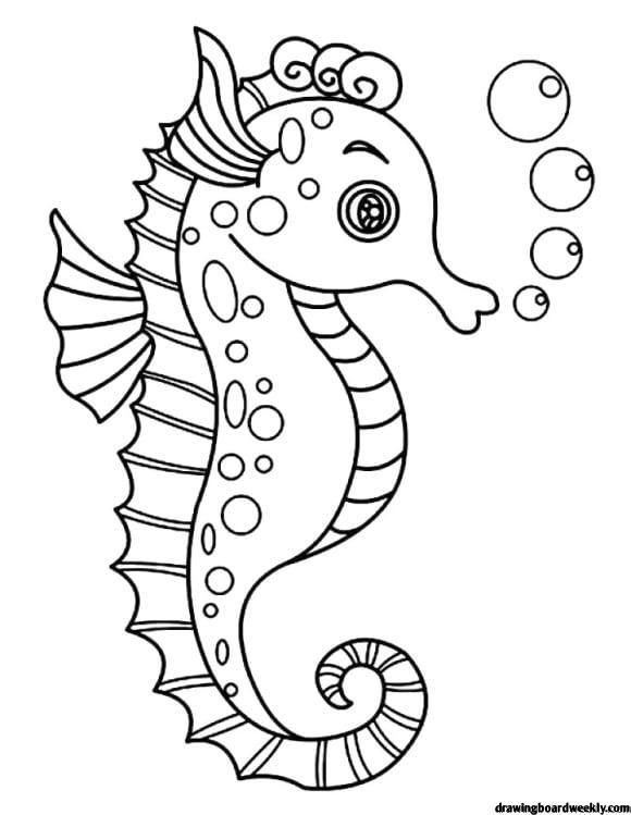 Seahorse Coloring Page Horse Coloring Pages Animal Templates Mermaid Coloring Pages