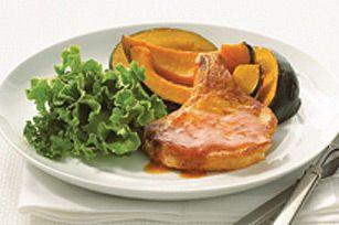 Côtelettes de porc glacées avec courge