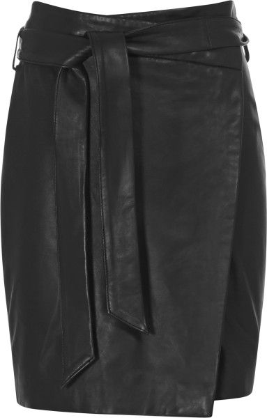 Love this: REISS Black Merron Leather Wrap Skirt @Lyst