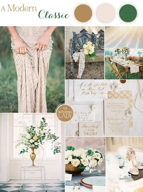 White, cream and gold wedding with green accents