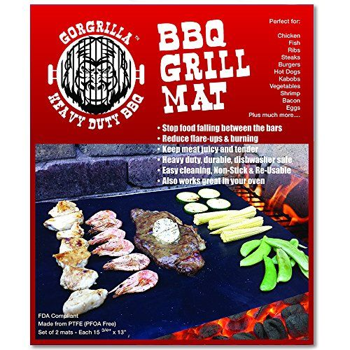 Gorgrilla(TM) BBQ Grill Accessories - BBQ Grill Mat - Set of 2 - As Seen on Tv - Reduce Mess and Clean Up Time - Protect Your Barbecue Grills - Save money on BBQ cleaner, BBQ Replacment Grill & BBQ Grill Parts - Stop Flare-ups and Burning of Your Food - Makes Grilling Easy and Effortless - FDA Compliant - Heavy Duty, Durable, Reusable - Over 35% Thicker Than Cheap BBQ Grill Cover - Non Stick, Easy Clean - PFOA Free - The Best bbq grill tools for any Propane, Gas, Electric