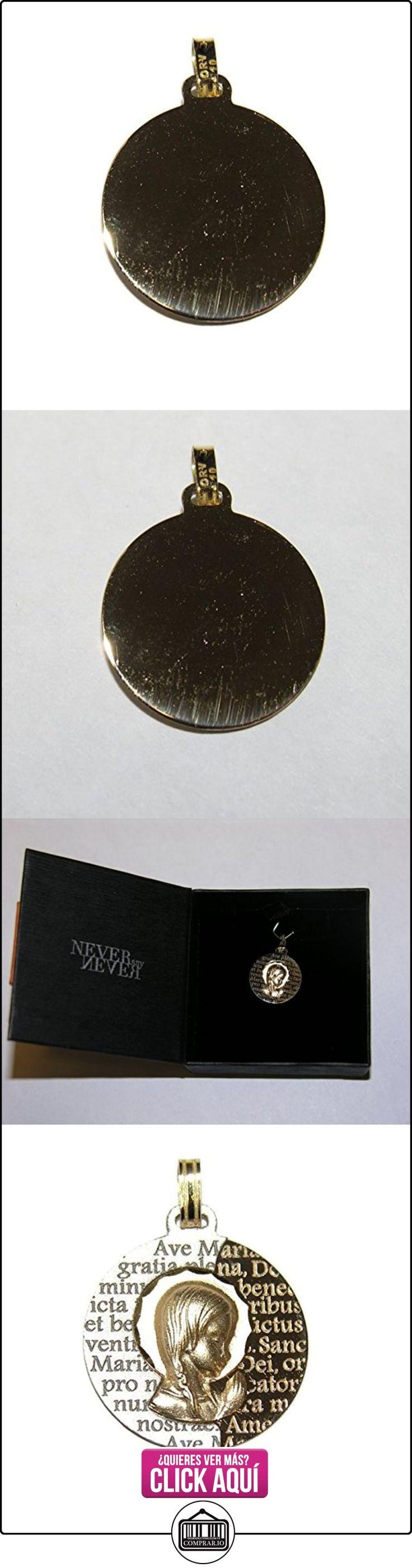 Medalla de comunión Virgen niña bicolor oro de 18k con oración del Ave María. 16mm  ✿ Joyas para niñas - Regalos ✿ ▬► Ver oferta: http://comprar.io/goto/B01NBYBPDQ