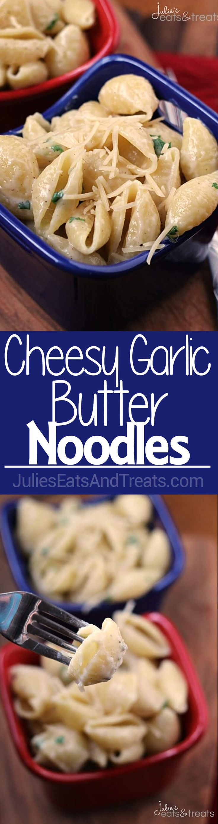 Cheesy Garlic Butter Noodles ~ Quick and Easy Side Dish for a Busy Night! Pasta Loaded with Garlic, Butter & Cheese! ~ http://www.julieseatsandtreats.com
