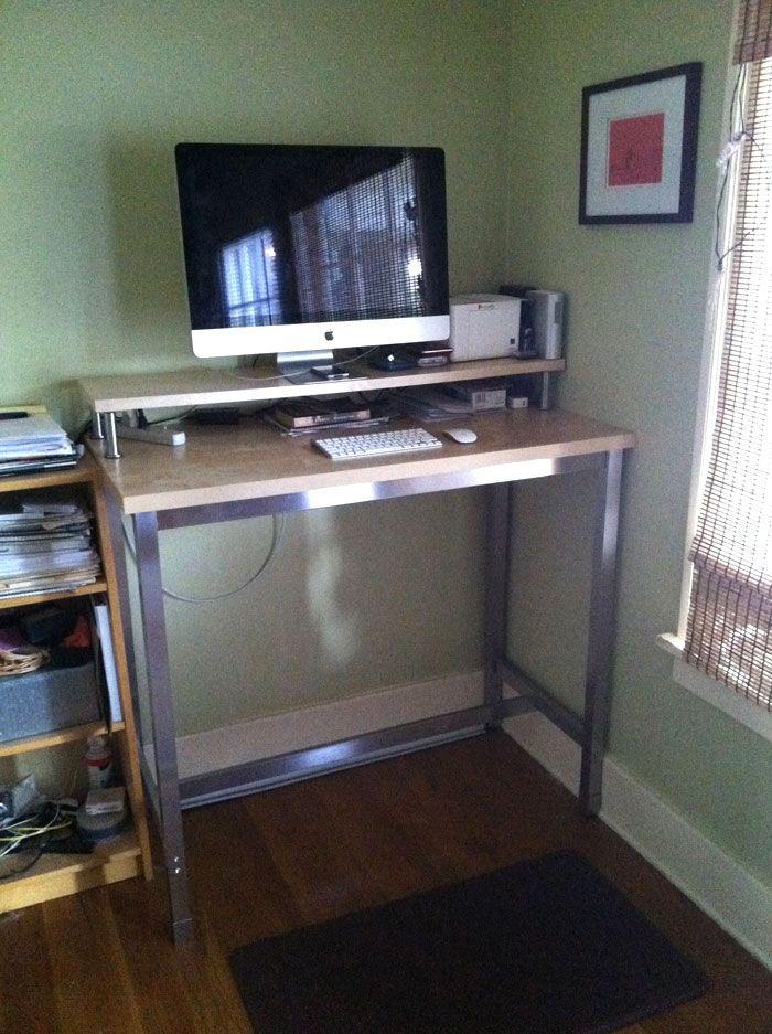 Standing desk DIY (Ikea hack)Desks Hacks, Ikea Stands, Stands Desks, Offices Ideas, Ikea Hacks, Standing Desks, Ikea Hackers, Utbi Legs, Capita Legs
