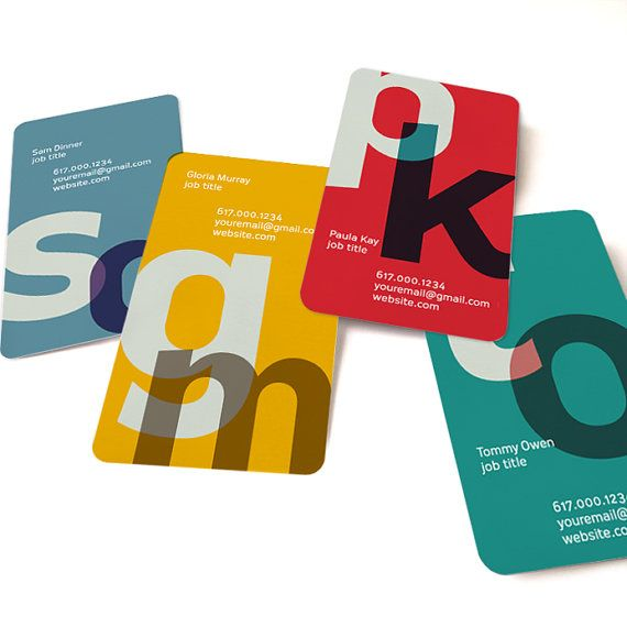 Business card, Calling card, 100 cards, offset printing, Contemporary design - Overlap Initial