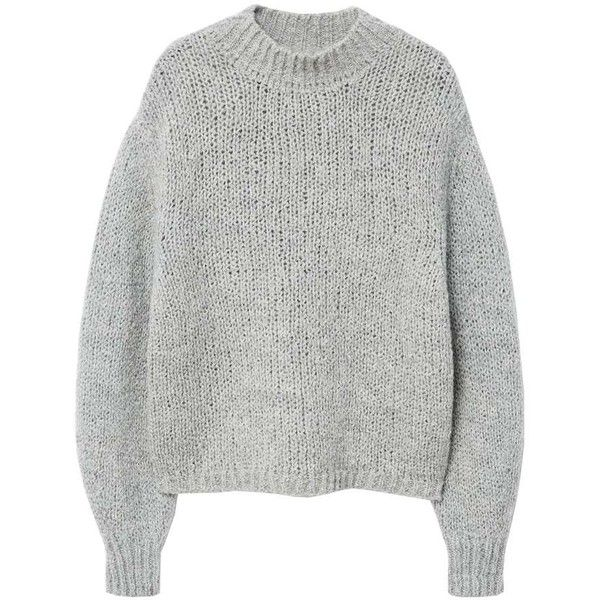 MANGO High collar wool sweater (390 PEN) ❤ liked on Polyvore featuring tops, sweaters, grey, woolen tops, wool top, grey long sleeve sweater, drop-shoulder tops and drop shoulder sweater