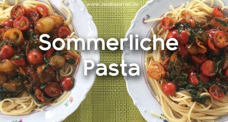 Pasta mit Tomaten und Spinat