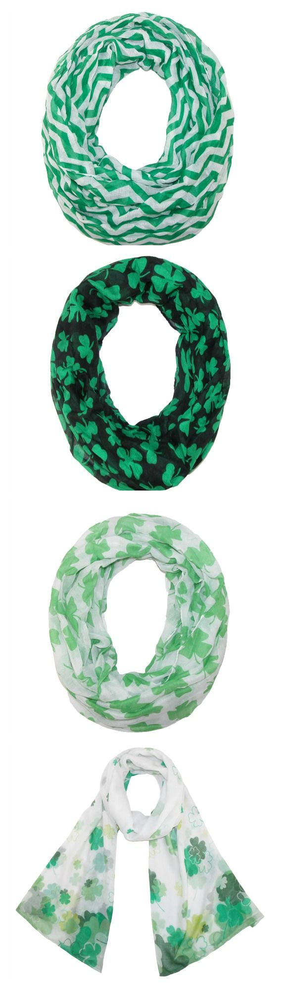 Show your Irish pride for St. Patrick's Day or accessorize an everyday look with these adorable festive scarves! You can never go wrong with shamrocks or chevron!