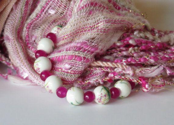 Pink Bead Bracelet / Ceramic Bead Bracelet / by BeadablesBracelets