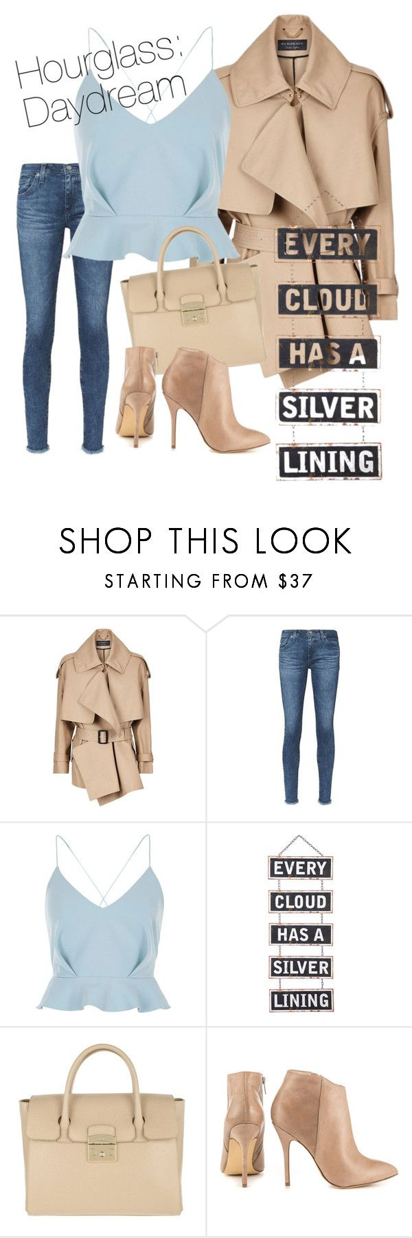 """Hourglass: Daydream"" by futurebloom on Polyvore featuring Burberry, AG Adriano Goldschmied, River Island, Silver Lining, Furla and Steve Madden"