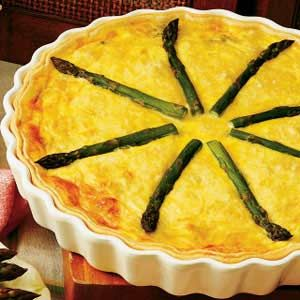 Asparagus Crab Quiche My dad used to make this with fresh blue stone crab/ I'll use imitation because I'm allergic. Still delicious :)