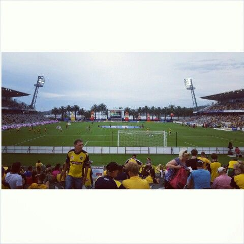 Central Coast Stadium. Central Coast Mariners. CCM. One team, one dream. Palm trees. Gosford Waterfront. NSW Central Coast.