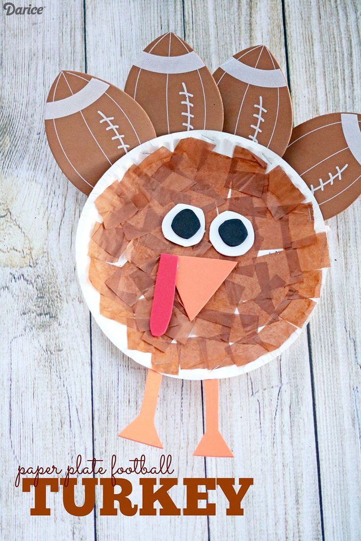 Paper Plate Football Turkey - Kid Craft Idea  sc 1 st  Pinterest & 534 best Thanksgiving craft ideas for kids images on Pinterest ...