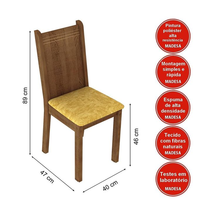 Conjunto Sala De Jantar Mesa E 4 Cadeiras Lexy Madesa Rustic/Palha
