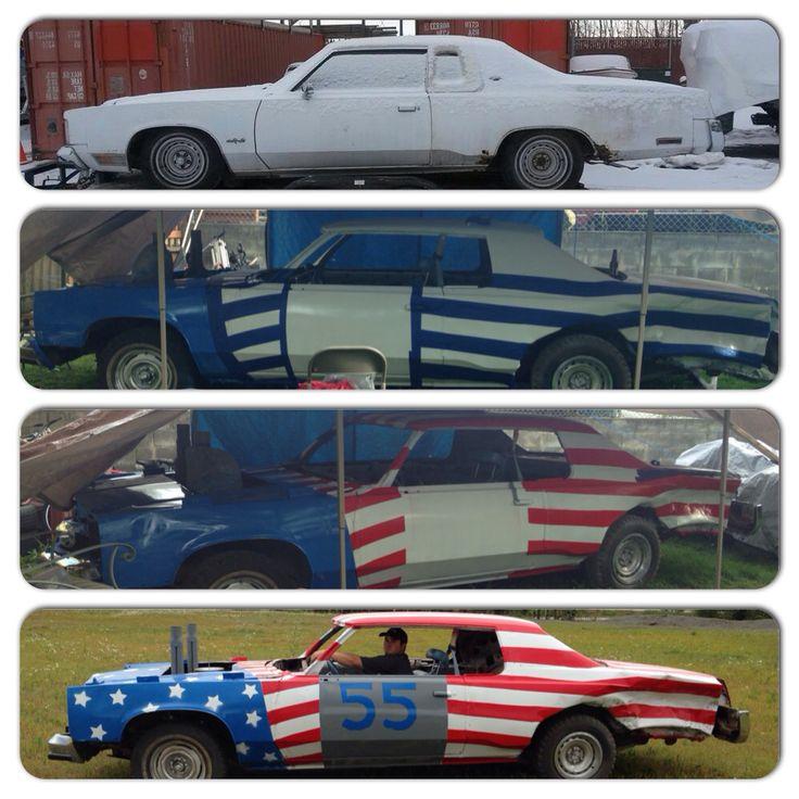 Diy Demo derby car paint job, American flag