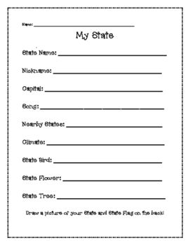Geography My State Activity   Student teaching, Activities ...