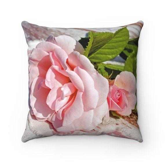 Pink Rose Pillow Pink Flower Pillow Rose Throw Pillow Flower Decor