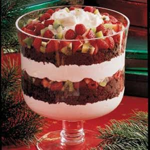 Chocolate and Fruit Trifle Recipe - Prep 20 min. + chilling, Bake 20 min. + cooling. Yield 12-16 servings.  This refreshing dessert layered with devil's food cake, a creamy pudding mixture, red berries and green kiwi is perfect for the holidays.