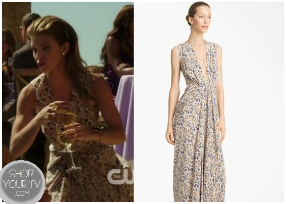 90210: Season 5 Episode 2 Naomi's Beige and Blue Printed Maxi Dress | ShopYourTvShopYourTv