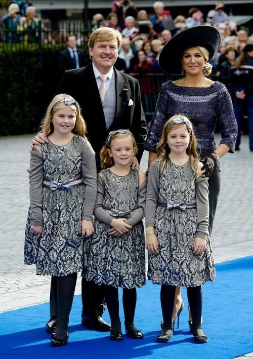 ladymollyparker via dutch-royal: King Willem-Alexander and Queen Maxima attend the wedding of the King's cousin Prince Jaime of Bourbon-Parma, with their daughters--Princess Amalia, Princess Ariane, and Princess Alexia, October 5, 2013.