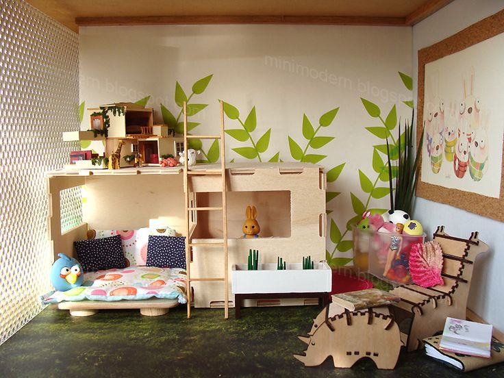 76 best miniature toyrooms and childrens rooms images on for Dollhouse bedroom ideas