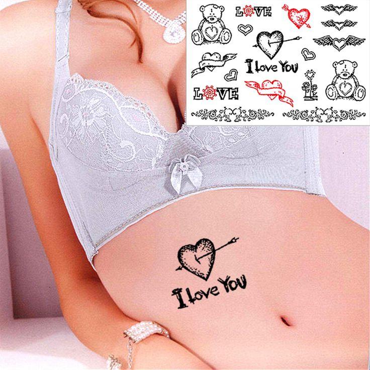 Ангел Сердце Я Тебя люблю Флэш Временные Татуировки Стикер 17*10 см Водонепроницаемый EN71 Высокое Качество Тату Хной Тела искусство Продукты Секса