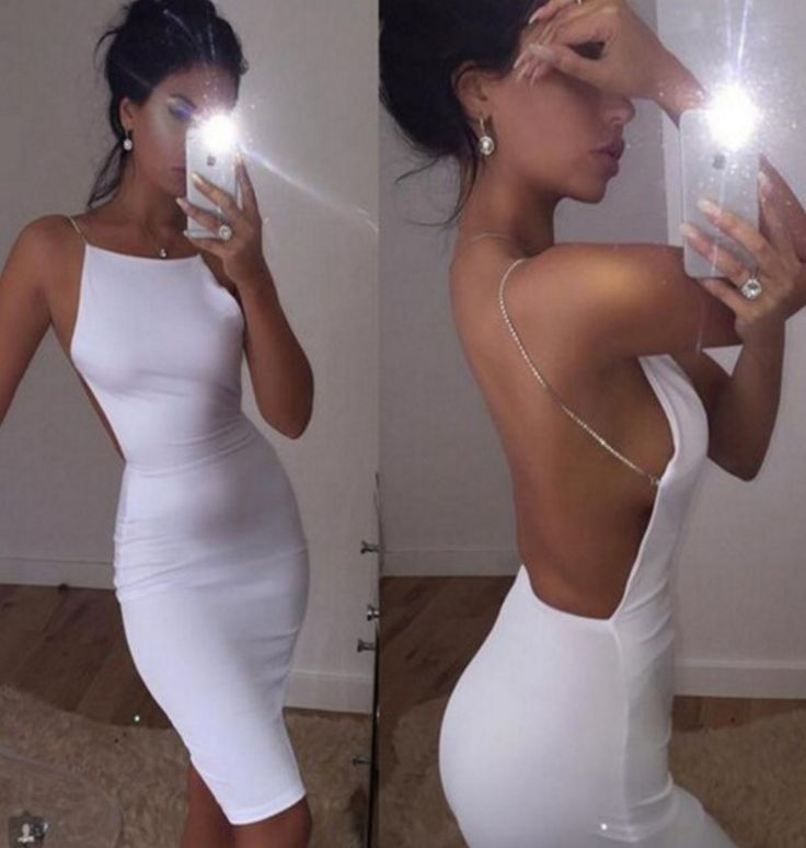 Sexy Fashion Backless Strap Solid Bodycon Mini Dress