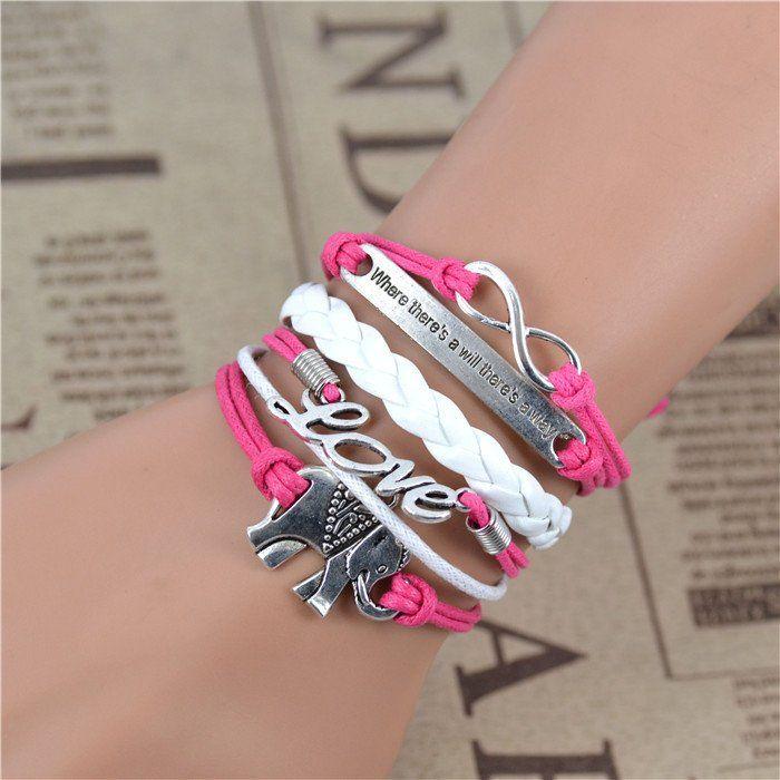 Free shipping! male female Bracelets & bangles Infinity Elephant Love manual multilayer bracelet and retro