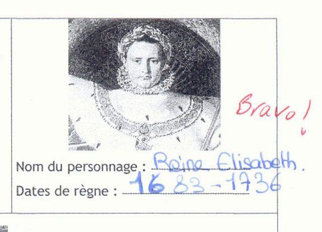 Funny - drôle - top des copies d'élèves les plus drôles - (Reine Élisabeth - queen elisabeth)
