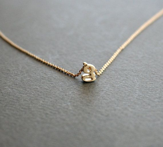 Gold Personalized Necklace  Gold Initial Charm by StudioGoods, $25.00