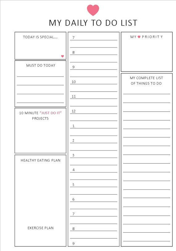 Daily to do list   Hourly format   A5   Printable planner {on Etsy - daily task template