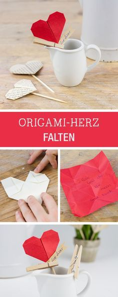 Handicrafts for Valentine's Day: origami heart fold / how to fold on origami heart, valentine's day gift via DaWanda.com