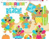 SALE Tropical Turkeys Cute Digital Clipart, Commercial Use OK, Tropical Thanksgiving Clipart, Beach Turkey Graphics, Thanksgiving Clipart