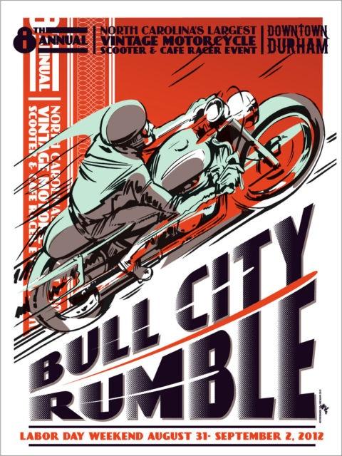 Vintage Event Motorcycle Poster Honda Yamaha Suzuki Cafe Racer 59 Ton Up Vincent
