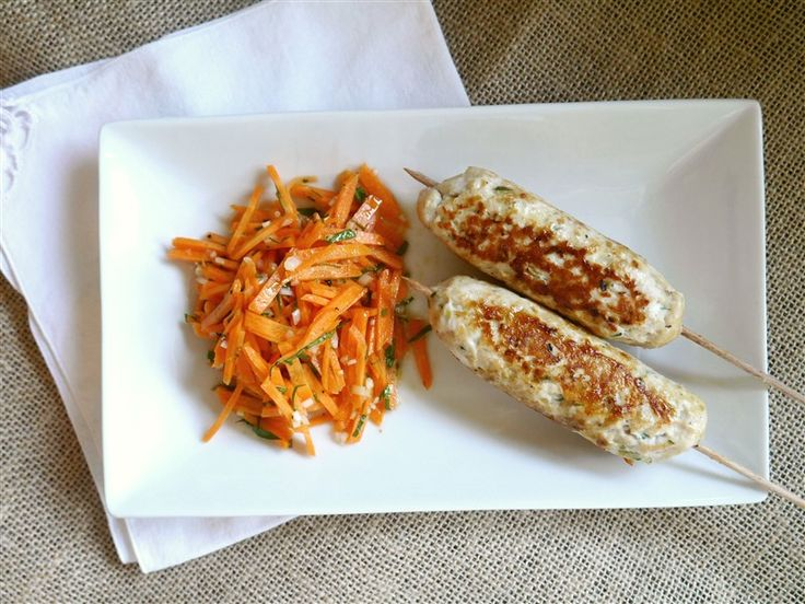 Cheesy Chicken Skewers with Honeyed Carrot Salad