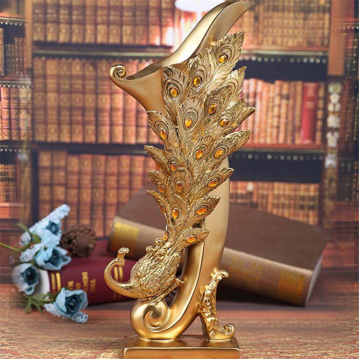 Lámpara de mesa de resina Vaso Florero Accesorios Para El Hogar de Pavo Real de La Moda Europea Para Sala de estar Decoración Floral Creativo Artesanía Regalo de Boda en Jarrones de Hogar y Jardín en AliExpress.com | Alibaba Group
