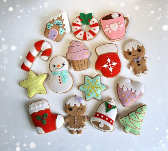 Christmas ornaments felt SET of 15 cute gingerbread door MyMagicFelt